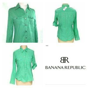 Banana Republic Roll Tab Long Sleeve Button Down